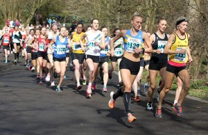 Ellie Vernon and Emma Clayton lead the field at the start of the 6 stage