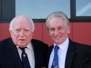 Blackburn Harriers President George Kirby with club chairman Tony Wood at the opening of the stand named in George's honour
