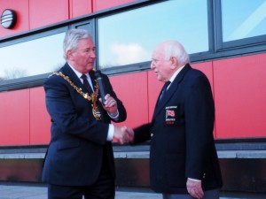 Blackburn Mayor Alan Cottam congratulate George Kirby as he opens the new 'George Kirby Stand at Witton Park