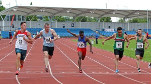 Senior mens 100 metres, from left to right: Christian Carson (Gateshead) winner, 2nd Ben Stephenson (Middlesbrough AC), 4th Demetric Nelson (Bingley), and 3rd Aarron Crowley (Sale Harriers)