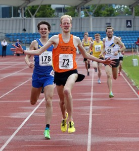 Dan Garbutt (Durham City) wins the 1500 metres, Northern Semnior and Under-20s Track and Field Champs., Manchester.