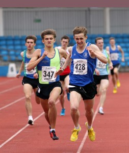 Jacob Brown (347) and Michael Wilson battle to the line in the under 20s 800m