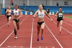 Ciara Flannery (251) Serren Davies (226) Louise Bloor (517) and Lucy Evans (248) in senior women 200m final