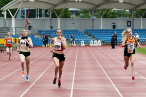 Emily Brothwick, (443) Carys McAulay (286) and Kate Lawler (469) in unders 20s women 400m