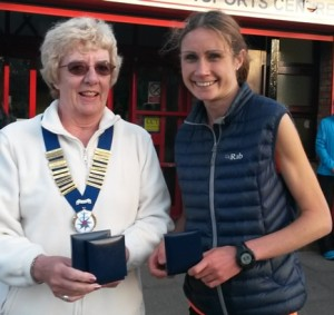 Rosie Smith 3rd lady with Northern Athletics President Jean Simpson