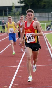 George Mills of Harrogate wins the 800m he went on to collect the 400m title the following day