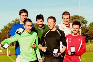 Derby AC gold medal winners Josh Bull, Luke Gunn, Alex Pilcher, Ben Connor, Dan Haymes and Richard Weir,