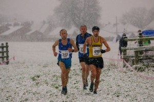 Eventual winner Patrick Martin (498) runs side-by-side with Carl Avery (343), who eventually finished runner-up with bronze medallist, Peter Newton, tucked in behind in the early stages of the North Eastern Counties Cross-Country Championships in Sedgefield
