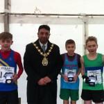 Under 13 Boys medal winners with Mayor of Blackburn Faryad Hussain, Tommy Dawson, , Scott Nutter and Sam Almond