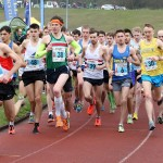 Start of the senior men Northern 12 Stage Road Relay 2016