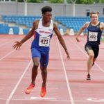 Connor Wood (Leeds City) wins the under-20s 200 metres.