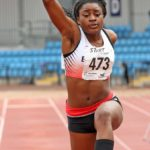 Naomi Ogbeta (Trafford AC) wins the under-20s triple jump.