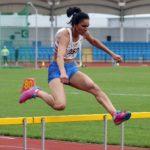 Nisha Desai (Trafford) wins the senior womens 400 metres hurdles.
