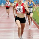 Tilly Simpson (Hallamshire Harriers) wins the under-20s 800 metres.