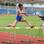 Nisa Desai on route to 400m hurdles vcitory
