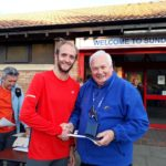 Dominic Shaw 2nd in NA 2017 5k Road Running Championship with past NA President Bill McGuirk