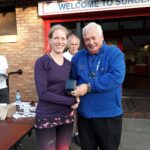Georgie Campbell 3rd in NA 2017 5k Road Running Championship with past NA President Bill McGuirk