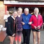 Winning Jarrow & Hebburn team in NA 2017 5k Road Running Championship with past NA President Bill McGuirk