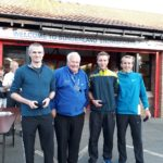 Winning Morpeth team in the NA 2017 5k Road Running championships with past NA President Bill McGuirk