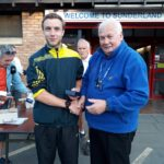 Nick Swinburn 3rd in NA 2017 5k Road Running Championship with past NA President Bill McGuirk