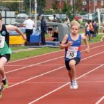Jacob Halford (City of York) 17 wins from Archie Dowds (Preston Harriers) 10 and 3rd Finlay McIntyre (NSP) 26 boys 100 metres, Northern Under-17s/U-15s and U13s Champs, Leigh Sports Village, Leigh. Photo: David T. Hewitson/Sports for All Pics