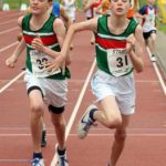 Elliott Savage 31 beats his twin brother Evan (both Sale Harriers) in the boys under-13s 800 metres, Northern Under-17s/U-15s and U13s Champs, Leigh Sports Village, Leigh. Photo: David T. Hewitson/Sports for All Pics