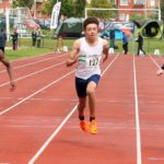 Jamall Walters (Trafford AC) 194 wins, Thomas Eccleson (Wirral AC) 127 3rd and Ben Baston (Crewe and Nantwich) 2nd, boys under-15s 100 metres, Northern Under-17s/U-15s and U13s Champs, Leigh Sports Village, Leigh. Photo: David T. Hewitson/Sports for All Pics