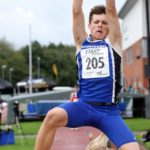 Archie Yoe (Scunthorpeand District AC) winner of the boys under-15s long jump, Northern Under-17s/U-15s and U13s Champs, Leigh Sports Village, Leigh. Photo: David T. Hewitson/Sports for All Pics