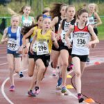 Ines Curran (Gateshead Harriers) leader the girls under-15s 1500 metres, Northern Under-17s/U-15s and U13s Champs, Leigh Sports Village, Leigh. Photo: David T. Hewitson/Sports for All Pics
