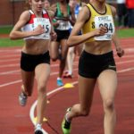 Emily Misantoni (Stockport Harriers) on her way to victory in the under-15s 800 metres, Northern Under-17s/U-15s and U13s Champs, Leigh Sports Village, Leigh. Photo: David T. Hewitson/Sports for All Pics