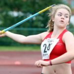 Lauren Foletti (Hallamshire Harriers) wins the girls under-15s javelin, Northern Under-17s/U-15s and U13s Champs, Leigh Sports Village, Leigh. Photo: David T. Hewitson/Sports for All Pics