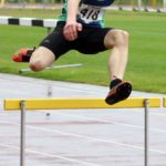 Isaac Rushworth (City of Sheffield and Dearne) wins the mens under-17s 400 metres hurdles , Northern Under-17s/U-15s and U13s Champs, Leigh Sports Village, Leigh. Photo: David T. Hewitson/Sports for All Pics