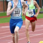 Max Burgin (Halifax Harriers) leads the under-17s 800 metres, Northern Under-17s/U-15s and U13s Champs, Leigh Sports Village, Leigh. Photo: David T. Hewitson/Sports for All Pics