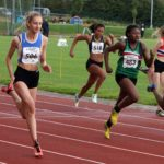 From left to right: Hannah Kelly (Bolton United Harriers) wins from 2nd Myisha Gordon (Sale Harriers) and 3rd Leonie Ashmeade (Wakefield and District) womens under-17s 100 metres , Northern Under-17s/U-15s and U13s Champs, Leigh Sports Village, Leigh. Photo: David T. Hewitson/Sports for All Pics