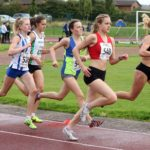 Tilly Simpson (Hallamshire Harriers) and Mya Taylor (Rotherham Harriers) lead the womens under-17s 1500 metres, Northern Under-17s/U-15s and U13s Champs, Leigh Sports Village, Leigh. Photo: David T. Hewitson/Sports for All Pics