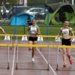 Melissa Coxon (Rotherham Harriers) 231 and eventual winner Jordan Thrower (New Marske Harriers) lead the womens under-17s 300 metres hurdles, Northern Under-17s/U-15s and U13s Champs, Leigh Sports Village, Leigh. Photo: David T. Hewitson/Sports for All Pics