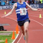 Rory Leonard brings Morpeth Harriers home to victory in the under-17 mens 3 stage relay, Northern Senior 6 and 4 and Junior Stage Road Relays, SportsCity, Manchester. Photo: David T. Hewitson/Sports for All Pics