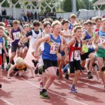 Start of the under-13 boys 3 stage relay