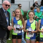 NA President presents Vale Royal U/13 girls with their medals as road relay champs 2017
