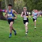 Ethan Hussey (Leeds AC) leads from Henry Johnson (Houghton Harriers) on the first leg of the boys under-15s
