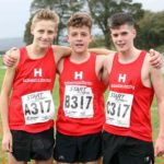 From left to right: Taylor Hill, James Hartley and Joe McDadd, Hallamshire Harriers winners of the boys under-15s
