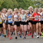 Start of the girls under-15s 3 stage road relay, 2017
