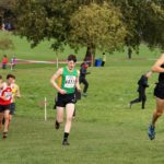 Joshua Dickinson (City of York) leads the under-17 mens Northern Cross Country Relays.
