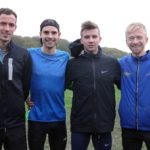 From left to right: Matthew Bowser, Shane Robinson, Tom Shaw and Joe Wilkinson, Lincoln Wellington winners of the senior mens Northern Cross Country Relays