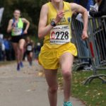 Ella McNiven brings Liverpool Harriers and AC home to victory in the womens under-17s 3 stage road relay, 2017
