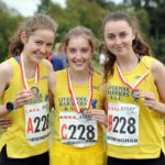 From left to right: Emma Gordon, Ella McNiven and Jessica Cook (Liverpool Harreirs and AC) winners of the womens under-17s 3 stage road relay, 2017