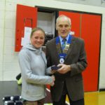 3rd in Women's race Stephanie Pattinson with NA President Kevin Carr