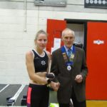 Ist Woman Sophie Cowper of Rotherham with NA President Kevin Carr