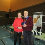 2nd Lady Steve Stockton of Leeds City AC with NA President Kevin Carr