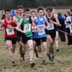 51 Emile Cairess (Leeds City AC), 29 Cameron Bell (Hallamshire Harriers), 17 Angus McMillan (City of York), 75 Nathan Dunn (Preston Harriers), 45 Baldvin Magnusson (Kingston Upon Hull AC) and 22 Hedley Hardcastle (Derby AC) lead the mens junior 2018 Northern Cross Country Champs., Harewood House, Leeds. Photo: David T. Hewitson/Sports for All Pics